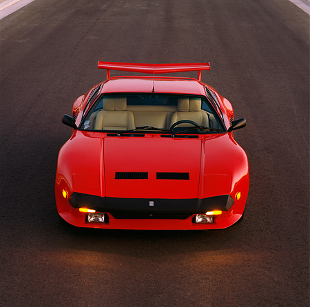AUT 24 RK0047 02 © Kimball Stock 1986 De Tomaso Pantera GT5-S Red Overhead Head On Shot On Pavement