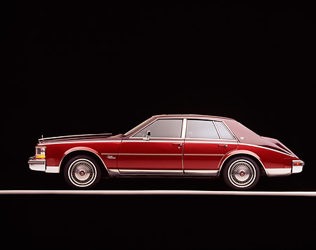 AUT 24 RK0073 02 © Kimball Stock 1980 Cadillac Seville Two Tone Burgundy Profile View On Gray Line