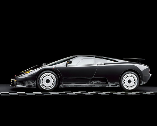 AUT 25 RK0058 06 © Kimball Stock 1995 Bugatti EB 100 GT Black Side View On Checkered Line Studio