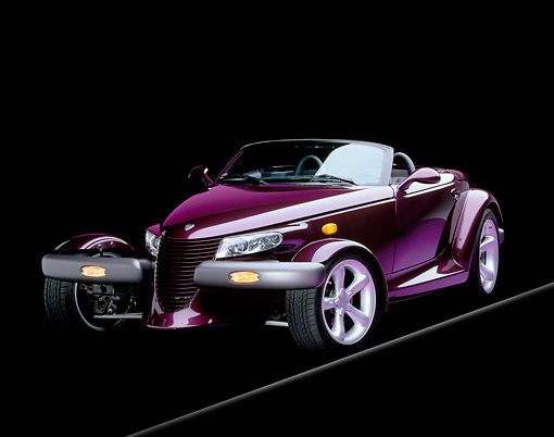 AUT 25 RK0084 06 © Kimball Stock 1998 Plymouth Prowler Roadster Burgundy 3/4 Front View Studio