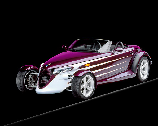 AUT 25 RK0251 14 © Kimball Stock 1998 Plymouth Prowler Purple Front 3/4 View On Gray Line Studio