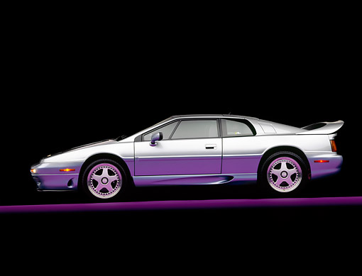 AUT 25 RK0352 04 © Kimball Stock 1995 Lotus Esprit S4S Silver Side View On Gray Line Studio