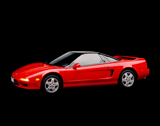 AUT 25 RK0717 04 © Kimball Stock 1990 Acura NSX Red 3/4 Side View Studio
