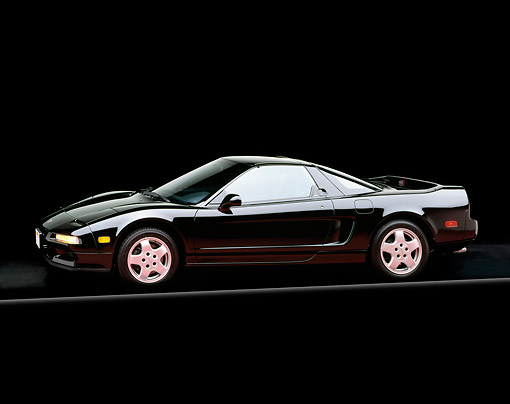 AUT 25 RK0740 04 © Kimball Stock 1991 Acura NSX Black 3/4 Side View Studio