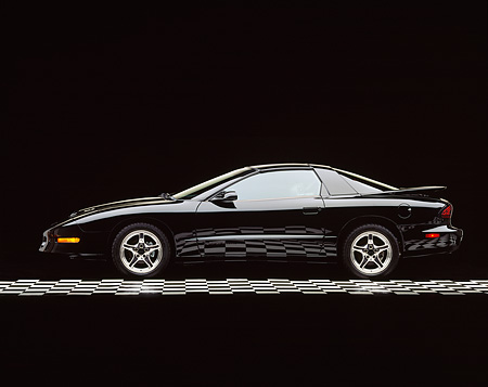 AUT 25 RK0017 06 © Kimball Stock 1997 Pontiac Firebird Trans Am WS-6 Black Profile View On Checkered Line Studio