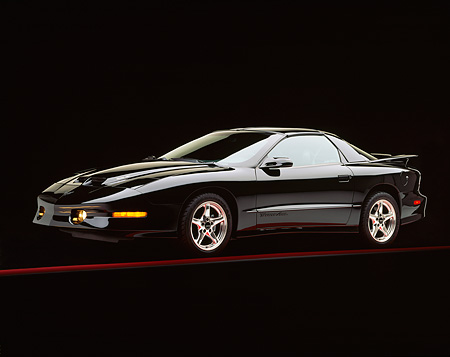 AUT 25 RK0018 05 © Kimball Stock 1997 Pontiac Firebird Trans Am WS-6 Black 3/4 Side View On Red Line Studio