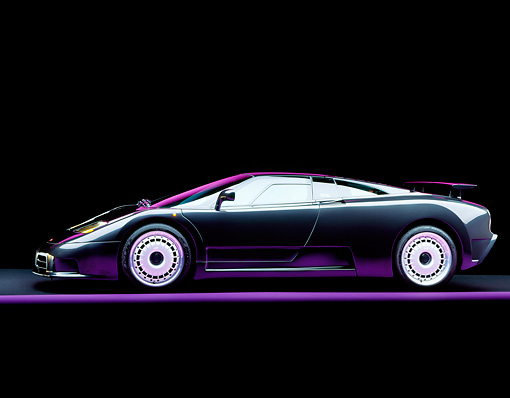 AUT 25 RK0060 06 © Kimball Stock 1995 Bugatti EB110 GT Black Profile View On Purple Line Studio