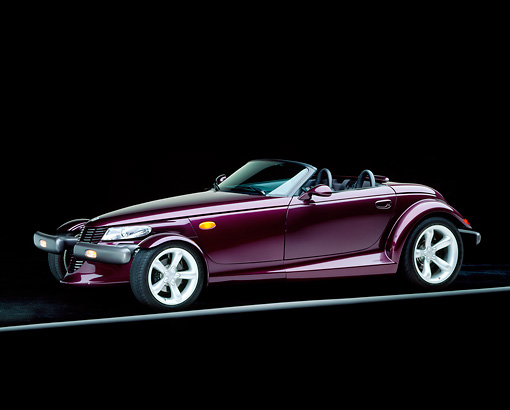AUT 25 RK0081 03 © Kimball Stock 1998 Plymouth Prowler Roadster Burgundy 3/4 Side View On Gray Line Studio