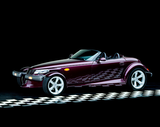 AUT 25 RK0083 04 © Kimball Stock 1998 Plymouth Prowler Roadster Burgundy 3/4 Side View On Checkered Floor Studio
