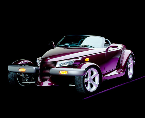 AUT 25 RK0084 11 © Kimball Stock 1998 Plymouth Prowler Roadster Burgundy 3/4 Front View Studio
