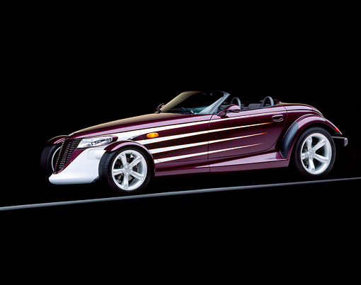AUT 25 RK0253 05 © Kimball Stock 1998 Plymouth Prowler Purple 3/4 Side View On Gray Line Studio