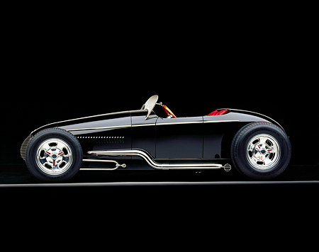 AUT 25 RK0285 02 © Kimball Stock 1996 California V-8 Special Black Roadster Custom Black Profile On Gray Line Studio