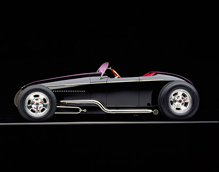 AUT 25 RK0285 10 © Kimball Stock 1996 California V-8 Special Black Roadster Custom Black Profile On Gray Line Studio