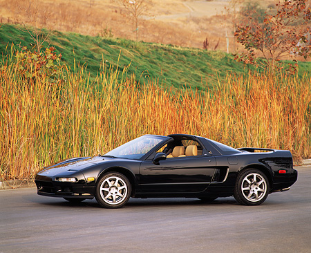 AUT 25 RK0318 04 © Kimball Stock 1996 Acura NSX Black 3/4 Side View On Pavement By Tall Dry Grass