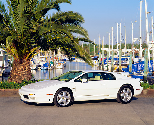 AUT 25 RK0407 02 © Kimball Stock 1995 Lotus Esprit S4 White Side 3/4 View By Harbor