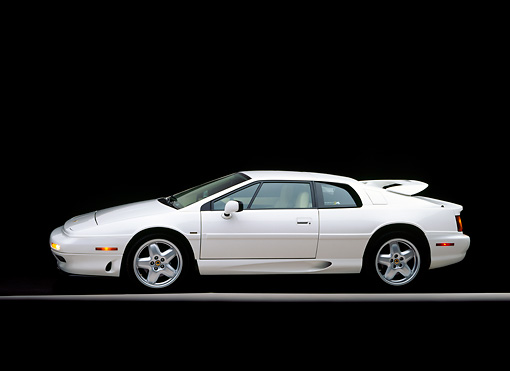 AUT 25 RK0411 02 © Kimball Stock 1995 Lotus Esprit S4 White Side View On Gray Line Studio
