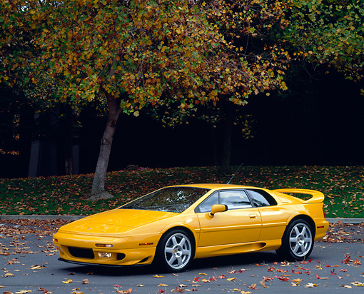 AUT 25 RK0434 06 © Kimball Stock 1997 Lotus Esprit V8 Yellow Side 3/4 View On Pavement By Tree
