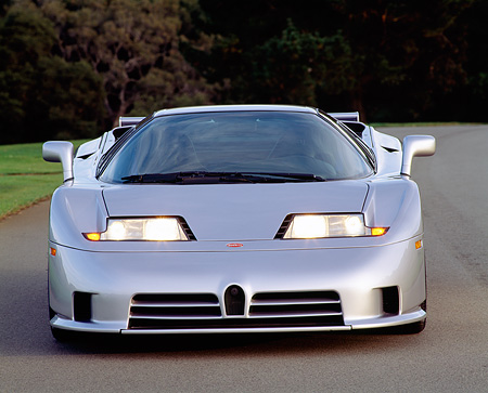 AUT 25 RK0441 02 © Kimball Stock 1994 Bugatti EB110 Silver Head On Shot On Pavement