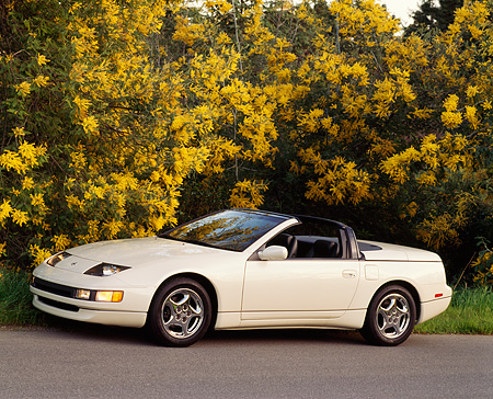 AUT 25 RK0637 03 © Kimball Stock 1994 Nissan 300ZX Convertible White 3/4 Side View On Pavement By Trees