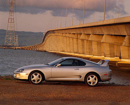 AUT 25 RK0648 26 © Kimball Stock 1994 Toyota Supra Twin Turbo Silver  Profile On Gravel