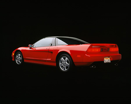 AUT 25 RK0723 02 © Kimball Stock 1990 Acura NSX Red 3/4 Rear View Studio