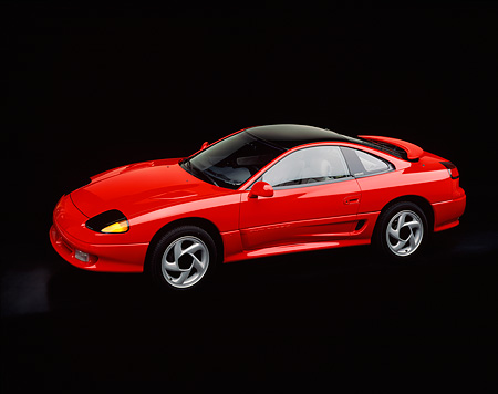 AUT 25 RK0737 03 © Kimball Stock 1991 Dodge Stealth R/T Turbo Red Overhead 3/4 Side View Studio