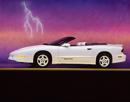 AUT 25 RK0886 04 © Kimball Stock 1995 Pontiac Firebird Trans Am Convertible White 3/4 Front View On Yellow Line Lightning Studio