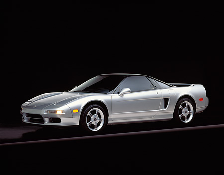 AUT 25 RK0914 02 © Kimball Stock 1993 Acura NSX Silver 3/4 Front View On Gray Line Studio