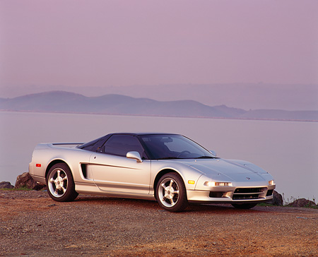 AUT 25 RK0922 05 © Kimball Stock 1993 Acura NSX Silver 3/4 Front View On Gravel By Water Filtered