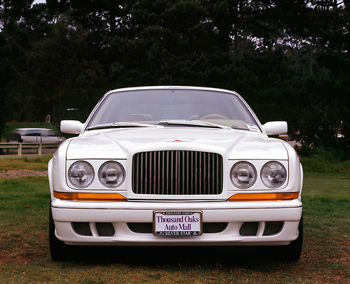 AUT 25 RK0949 01 © Kimball Stock 1997 Bentley Continental White Head On Shot On Grass