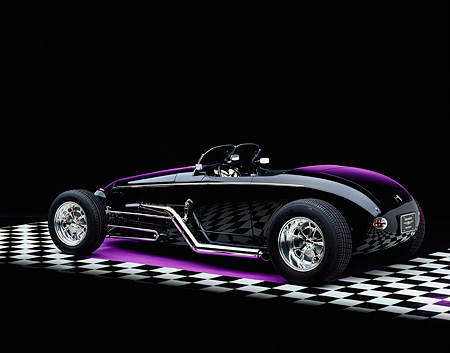 AUT 25 RK1051 07 © Kimball Stock 1999 Moal Special Roadster Black 3/4 Rear View On Checkerboard Purple Lighting Studio