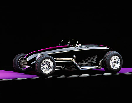 AUT 25 RK1054 03 © Kimball Stock 1999 Moal Special Roadster Black 3/4 Side View On Checkerboard Line Purple Floor And Lighting Studio