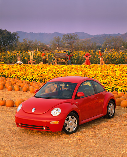 AUT 25 RK1094 02 © Kimball Stock 1999 Volkswagen New Beetle Turbo Red 3/4 Front View At Pumpkin Patch