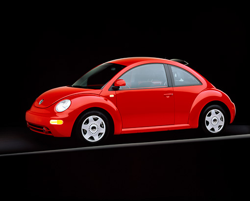 AUT 25 RK1103 06 © Kimball Stock 1999 VW Turbo New Beetle Red Front 3/4 View On Gray Line Studio