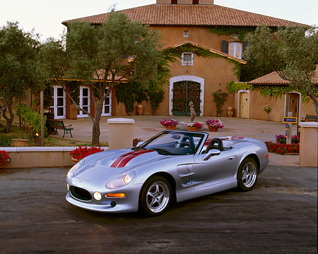 AUT 25 RK1110 04 © Kimball Stock 1999 Shelby Series 1 Convertible Silver 3/4 Front View By Building