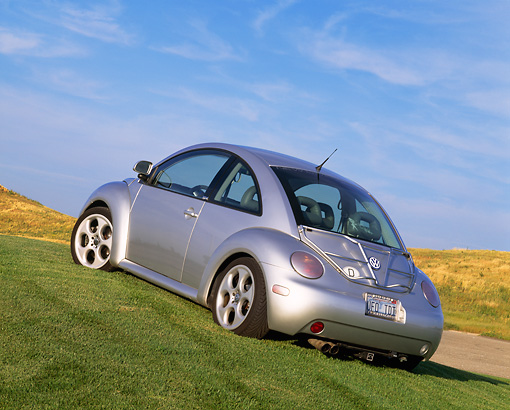 AUT 25 RK1134 03 © Kimball Stock 1998 VW New Beetle Turbo Silver Slanted Low 3/4 Rear View On Grass Blue Sky