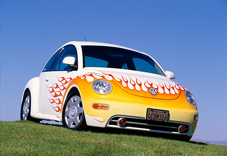 AUT 25 RK1159 06 © Kimball Stock 1998 Volkswagen New Beetle White With Flames Low 3/4 Front View On Grass Blue Sky