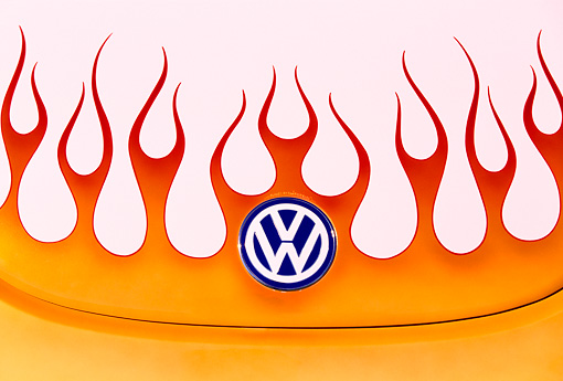 AUT 25 RK1161 02 © Kimball Stock 1998 Volkswagen Beetle Close Up Of Flames On Hood