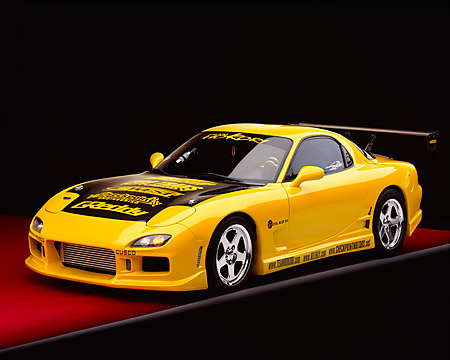 AUT 25 RK1289 02 © Kimball Stock 1993 Mazda RX7 Yellow Custom