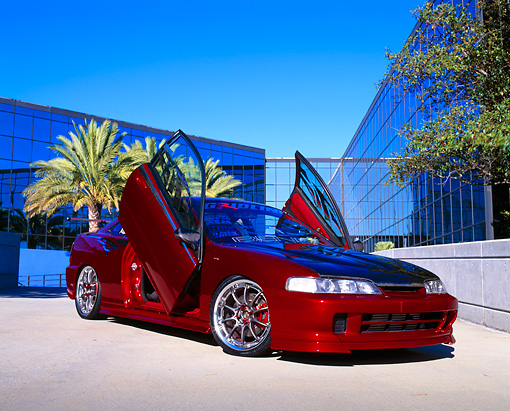 KimballStock_AUT 25 RK1303 02_preview & 1997 Acura Integra Red 3/4 Front View Doors Open On Pavement By ...