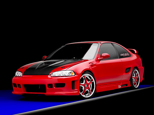 AUT 25 RK1425 01 © Kimball Stock 1993 Honda Civic Coupe Custom Red 3/4 Front View Studio