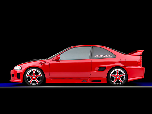 AUT 25 RK1427 01 © Kimball Stock 1993 Honda Civic Coupe Custom Red Profile View Studio