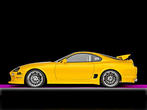 1998 Toyota Supra Custom Yellow Profile View Studio Kimballstock