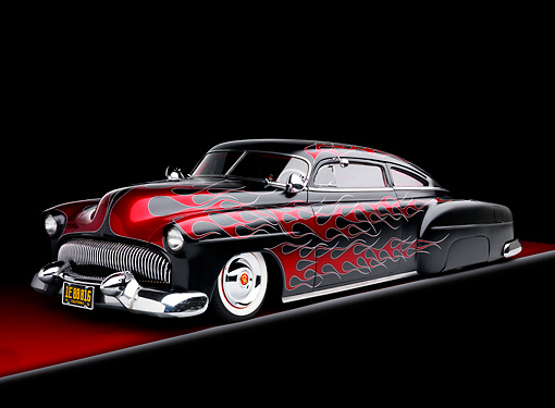 AUT 26 BK0004 01 © Kimball Stock 1951 Chevrolet Fleetline Hot Rod Black With Red Flames 3/4 Front View Studio