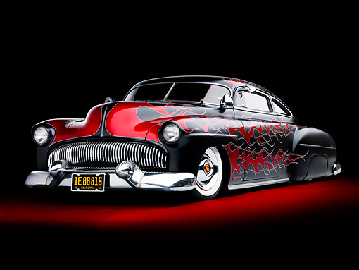 AUT 26 BK0005 01 © Kimball Stock 1951 Chevrolet Fleetline Hot Rod Black With Red Flames 3/4 Front View Studio