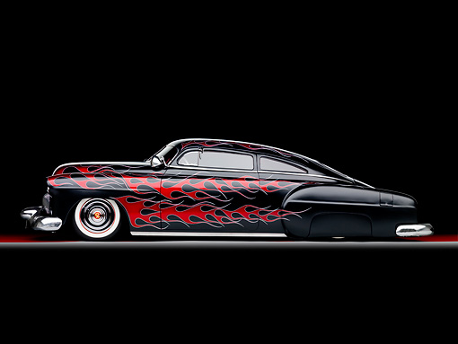 AUT 26 BK0006 01 © Kimball Stock 1951 Chevrolet Fleetline Hot Rod Black With Red Flames Profile View Studio