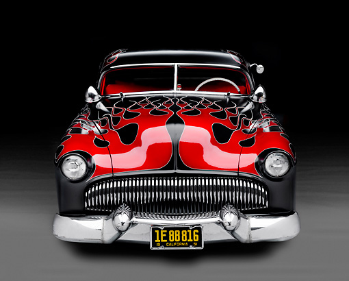 AUT 26 BK0007 01 © Kimball Stock 1951 Chevrolet Fleetline Hot Rod Black With Red Flames Front View Studio