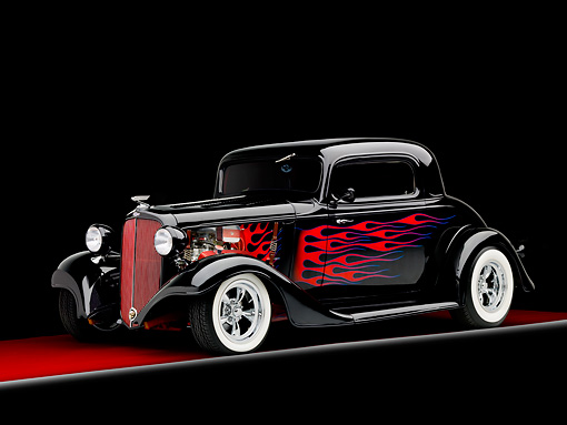 AUT 26 BK0009 01 © Kimball Stock 1933 Chevrolet Mercury CC Coupe Hot Rod Black With Red Flames 3/4 Front View Studio