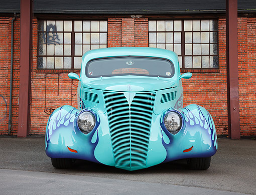 AUT 26 BK0015 01 © Kimball Stock 1937 Ford Slantback Panel Delivery Turquoise Front View On Pavement By Brick Building