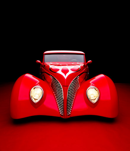 AUT 26 RK0487 12 © Kimball Stock 1939 Ford Coupe Red With Flames Head On View Studio